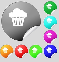 cake icon sign Set of eight multi colored round vector image