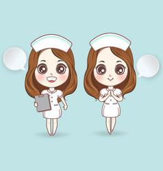 Cartoon nurse in white dress cute have a smile vector