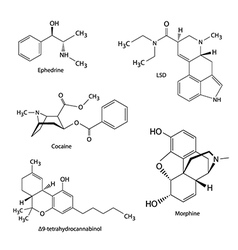 Chemical formulas of illicit drugs and substances vector