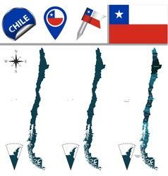 Chile map with named divisions vector