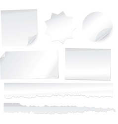 collection of various white note papers on white b vector image vector image