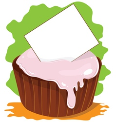 Cupcake with card for text vector