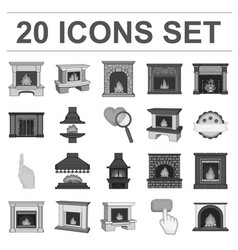 Different kinds of fireplaces monochrome icons in vector