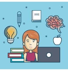 Girl education online with laptop design vector