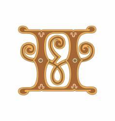 golden letter h vector image vector image