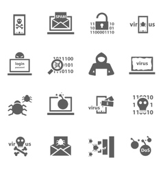 Hacker attack icons vector image vector image
