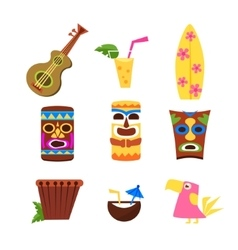 Hawaii themed collection of icons vector