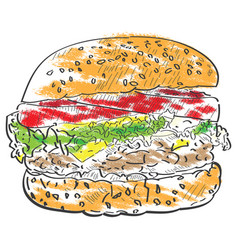 Isolated burger sketch vector