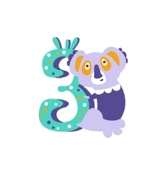 Koala standing next to number three stylized funky vector