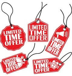 Limited time offer red tag set vector image