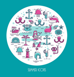 round banner underwater inhabitants vector image