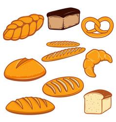 set of bread fresh bakery design vector image vector image
