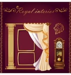 Set of columns curtains and old grandfather clock vector image vector image
