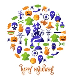 Set of happy halloween icons vector