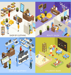 shopping mall isometric design concept vector image vector image