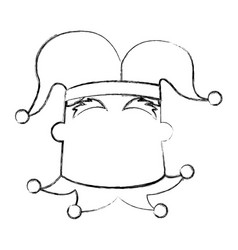 Sketch draw jester face cartoon vector
