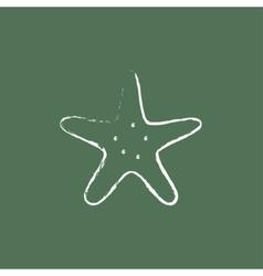 Starfish icon drawn in chalk vector