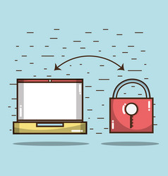 Technology laptop with padlock services icon vector