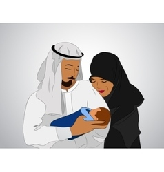traditional Muslim family vector image