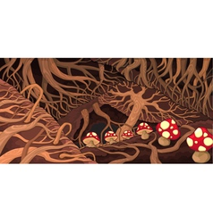 Underground with roots and mushrooms vector image