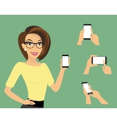 Woman showing something displayed on smartphone vector