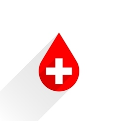 Donate drop blood red sign with cross and shadow vector