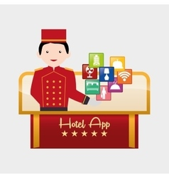 Bellboy and hotel digital apps design vector
