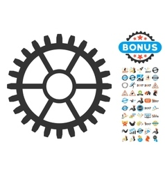 Clock wheel icon with 2017 year bonus symbols vector