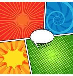 Comic magazine background set with speech bubbles vector image