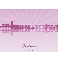 Bordeaux skyline in purple radiant orchid vector