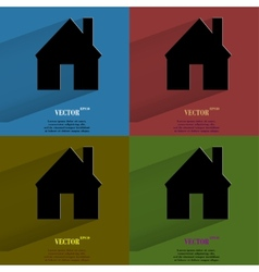Color set home flat modern web button with long vector