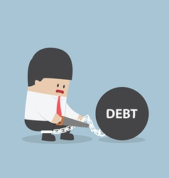 Businessman trying to destroy debt chain by hacksa vector image