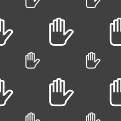 Hand print stop icon sign seamless pattern on a vector