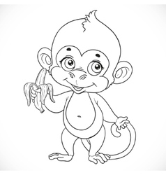 Outlined cute baby monkey with banana stand on a vector