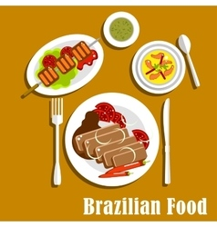 Brazilian cuisine dinner dishes and snacks vector