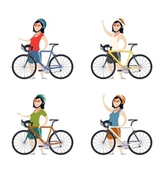 Set of cyclist women vector