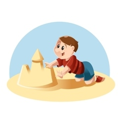 Kid plays in the sand vector