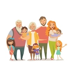 Big family portrait mother father daughter son vector