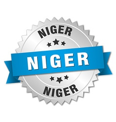 Niger round silver badge with blue ribbon vector