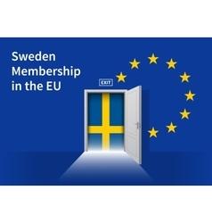 European union flag wall with sweden flag door eu vector