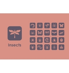 Set of insects simple icons vector