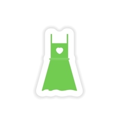 Paper sticker on white background summer dress vector
