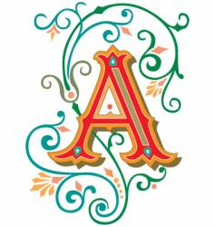 Floral letter a vector