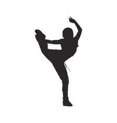 Hip hop dancer silhouette woman vector