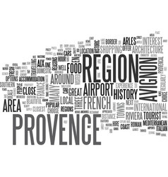 A tourist guide to provence text word cloud vector