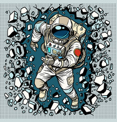Astronaut breaks the wall leadership and vector