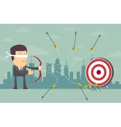 Blindfold businessman shooting arrow vector