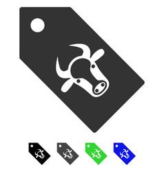 Bull tag flat icon vector
