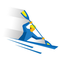 canoe slalom rower with paddle in boat vector image