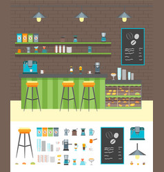 Cartoon coffee shop design interior and element vector